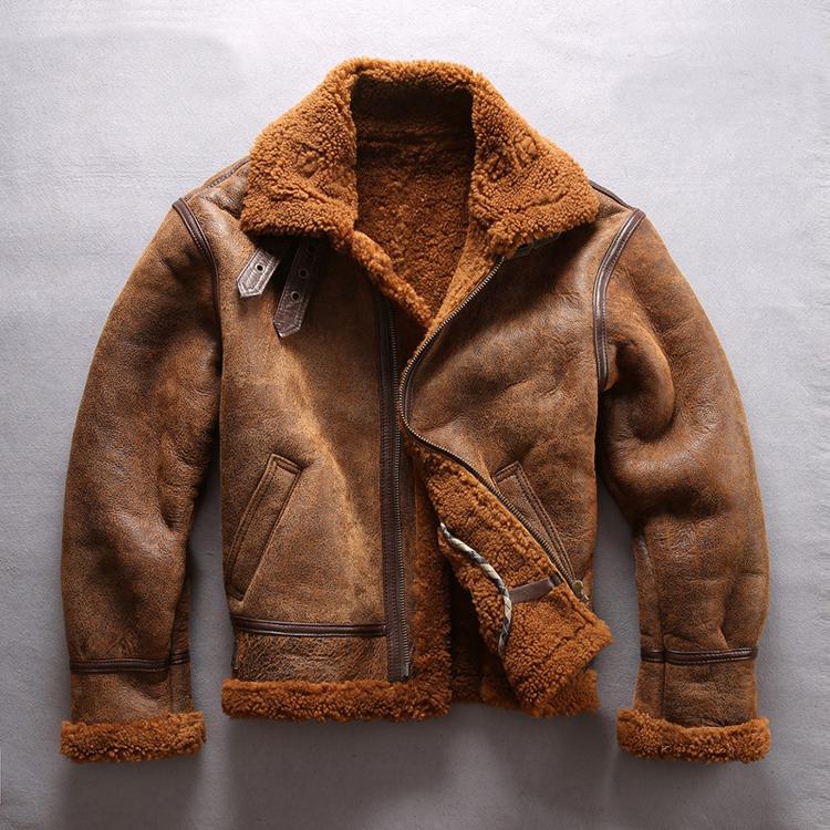 डालियान Donice B3 बॉम्बर जैकेट असली लेदर कोट वास्तविक चर्मपत्र शेरपा जैकेट Mens
