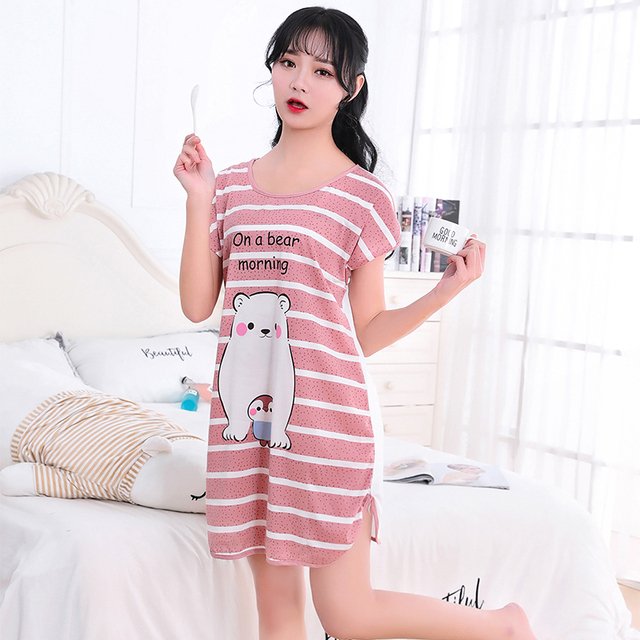 Women Cartoon Pajamas Siamese Pajamas Milk Silk Short Sleeve Home Sleepshirt US