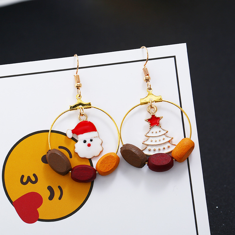 Factory wholesale Christmas Gift Drop Earrings  Christmas tree  Santa Claus earrings for women girls