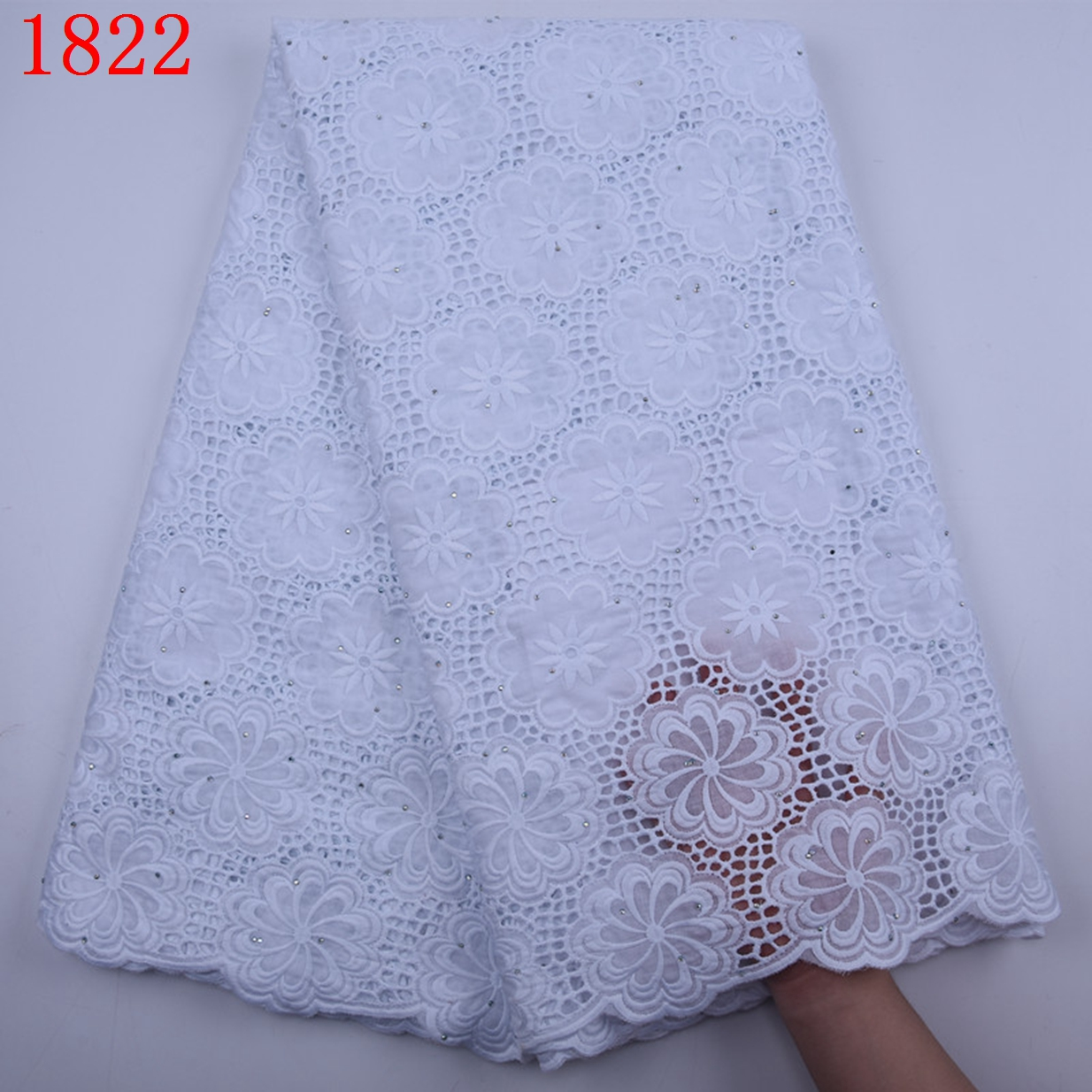 Hot Selling African Swiss Voile Cotton Lace Fabric With Stones For Party High Quality Dry Voile Cotton Lace For Dress 1822