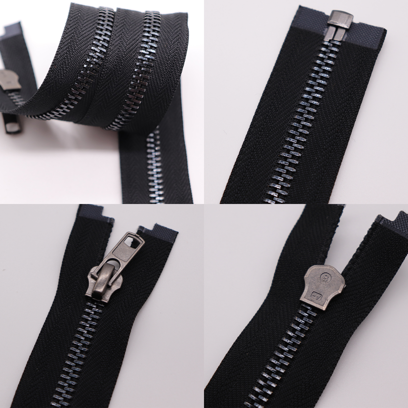 8# big different metal teeth open end large jacket metal zipper for bags and garments jacket zip