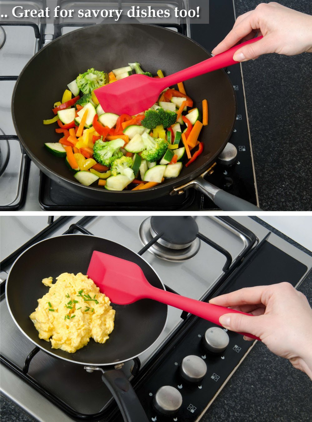 USSE Non-stick Stain resistant and Odor resistant Flexible silicone head design Durable Red Silicone Spatula