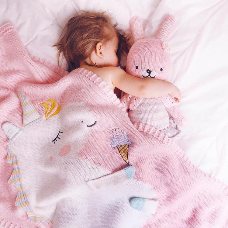 余分なソフト通気性幼児ニット毛布子供子供ニットユニコーンためサック、ベビーカー、旅行、装飾