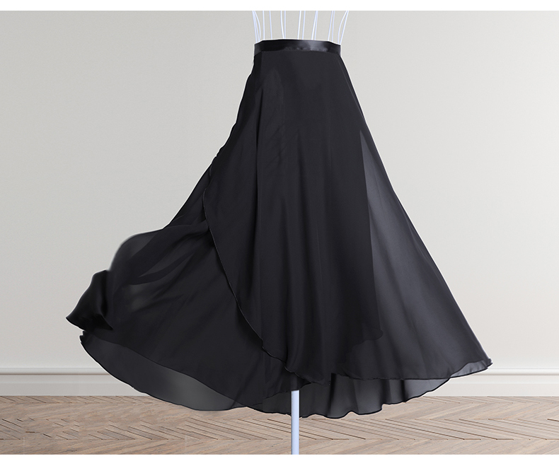 Women Chiffon Ballet Skirts Long Sheer Dance Skirts with Tie Waist