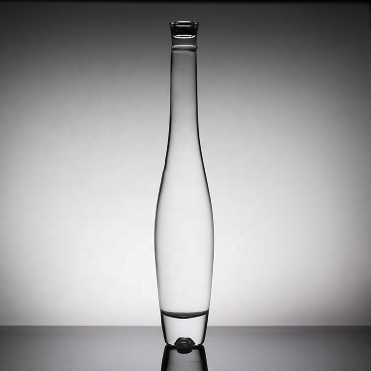 Botella de vidrio de 375ml botella de vino de hielo de vidrio claro de la bebida alto y delgado de frutas, ponche de frutas botella con tapa
