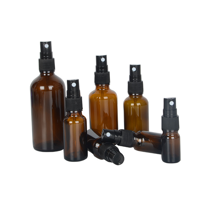 2020 New Products Amber 30ml 50ml 100ml Medical Personal Care Cleaning Alcohol Body Spray Glass Bottle With Plastic Pump Sprayer