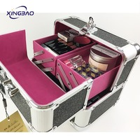 Black Large Size Professional Aluminum Multi-color Makeup Travel Cosmetic Cases Organizer Lady Makeup kits Storage Beauty Box