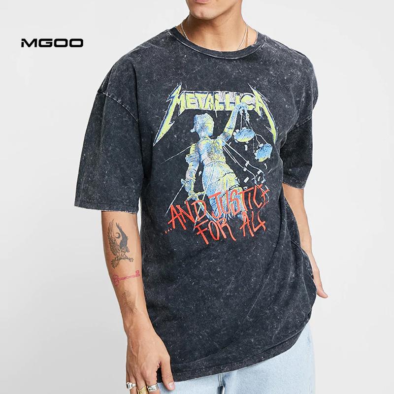 MGOO Vintage Schwarz Gedruckt Große Grafik Tees Säure Waschen T-shirt Männer Oversize Crewneck t Shirts