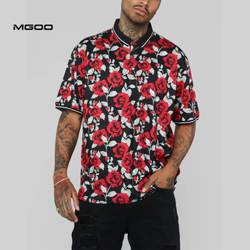 MGOO Custom Digitaldruck Polo Shirt Kurzarm Männer Rose Polo Hemd Polyester Spandex Taste Up