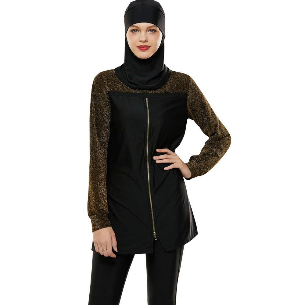 Hot Jual Ritsleting Lengan Panjang Shinning Muslimah Baju Renang Pinggang Tinggi Hitam Pantai Abaya Wanita Islam Baju Renang