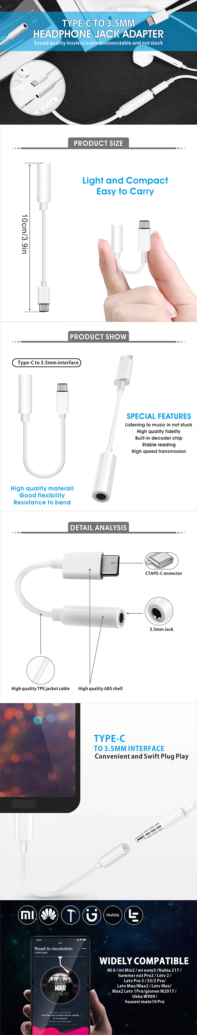 Hot New Products Mobile Phone Type-C 3.5 mm Headphone Jack Adapter