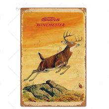 Металлическая жестяная вывеска для охоты, винтажная Ретро доска с изображением оленя совы, Настенный декор для мужчин, пещерный пистолет, м...(Китай)