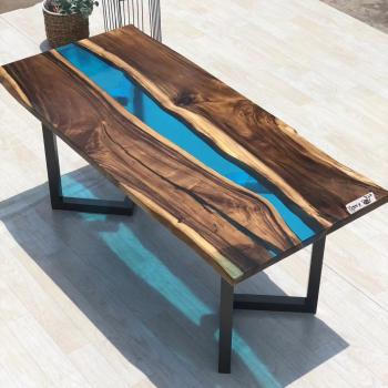 High End Solid Wood With Resin Dining Table Resin Slab Coffee Table