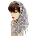 fashion lace hijab cotton pearl scarf 2019 latest muslim lace trimming beads hijab stoles