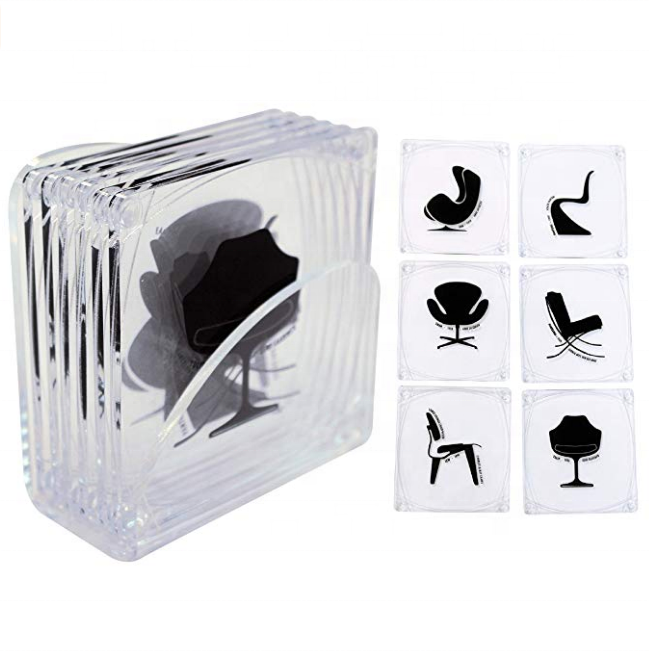 Custom  Acrylic Coasters with Clear Acrylic Holder (Set of 6)