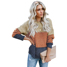 2019 New Arrivals  Fashion Style Winter Color Block Netted Texture Women Pullover Sweater