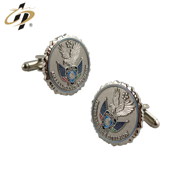 Best selling custom high quality metal military cufflinks for souvenir