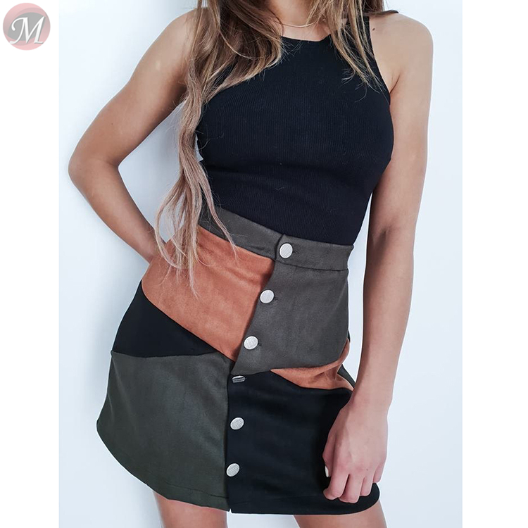 0010918 high quality fashion casual A-lineskirt velvet multicolor splice button Fashion skirt women clothing