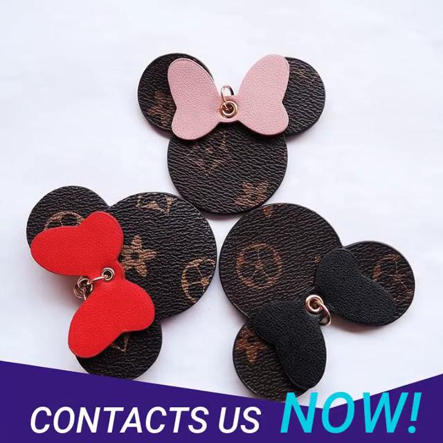 Wholesale High Quality Cute Cartoon Leather Women handbag Decoration Leather Mickey Mouse Car Keychain