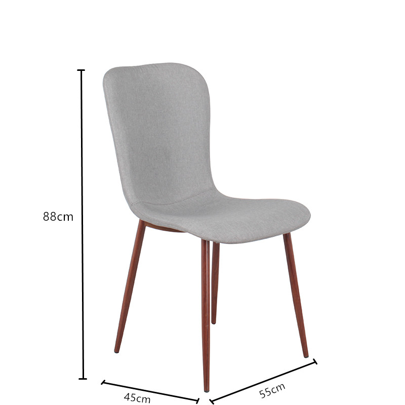 Free Sample Mid back Grey Fabric Upholstered Slope Leg Dining Chair Gray Black Set Fabric Dining Chairs