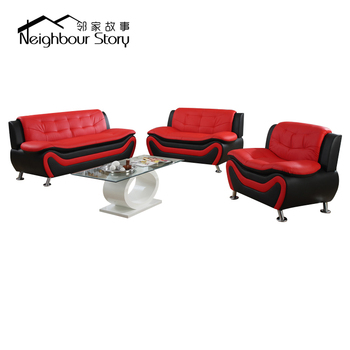 US Pride Furniture 9101 3 Piece Modern Faux leather Sofa Set black and red