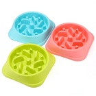 PP material puppy feeder no chocking slow eating pet feed bowl with Funny Pattern
