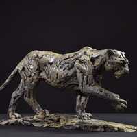 Artificial and popular modern bronze jump cheetah sculpture