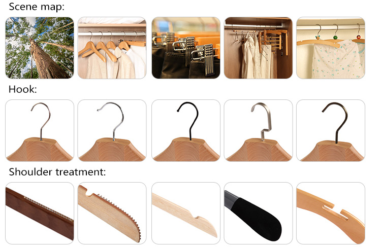 Wooden hangers supplier natural color wood trousers skirt hanger