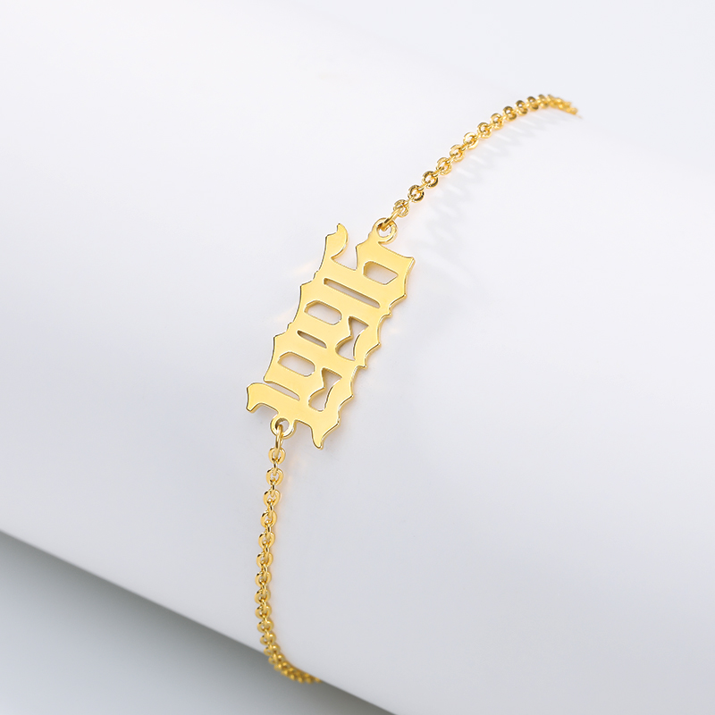 Personalized Gold Old English Numbers Date Anklets