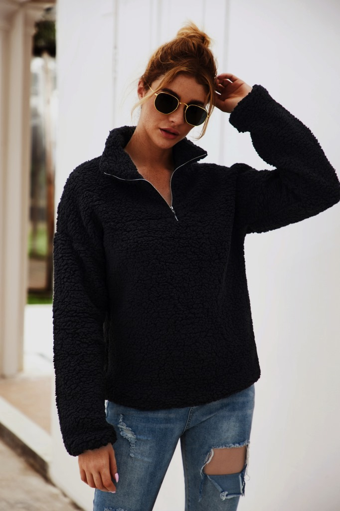 Cross border autumn eBay Amazon wish popular women's loose large Mock Neck zipper long sleeve T-shirt sweater