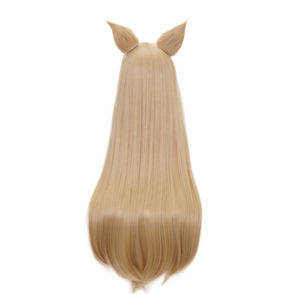 New Synthetic Long Straight Light Coffee Color Cosplay Wigs with Bangs