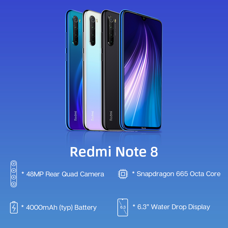 Global versions smartphone android mi mobile phone Snapdragon 665 for redmi note 8 4+64 xiaomi
