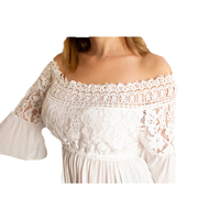 100% Viscose off shoulder white long lace women pullover top