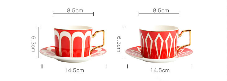 Luxury ceramic coffee cup and saucer tea set with gold handle
