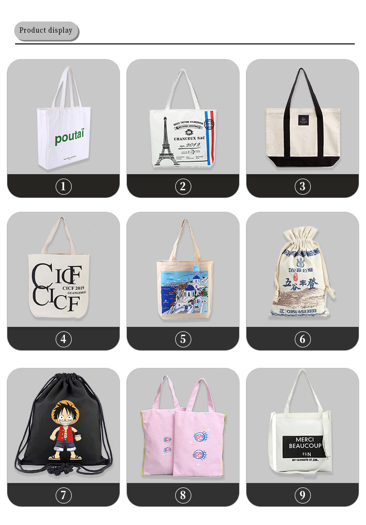 Wholesale High Quality Blank Custom Print 12oz Natural Cotton Canvas Shopping Tote Bag with Logo