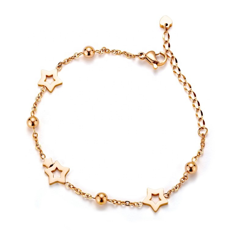 Loftily Jewelry New Arrival <strong>Accessories</strong> Rose Gold Plating Hollow Stars Bracelet Bracelet Adjustable Bead Chain Link Bracelet