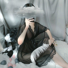 4 цвета, летнее сексуальное нижнее белье с глубоким v-образным вырезом, Женская сетчатая одежда для сна, шелковая ночная рубашка, ночная руба...(Китай)