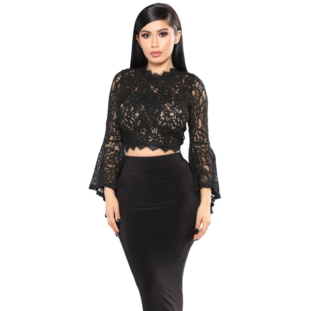 Elegant Middle collar zipper Flare Sleeve <strong>Lace</strong> T-shirt Women Club Party Tops <strong>Blouses</strong> Sexy Embroidered <strong>lace</strong> women's clothing