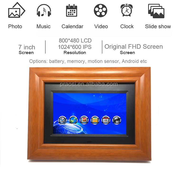 Wholesale digital photo frame lcd picture wooden frame digital photo mini 7 inch wood electronic photo album video