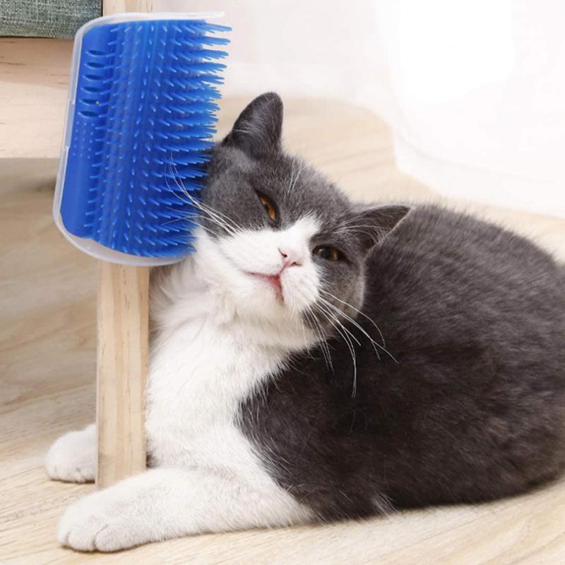 Anjing Kucing Sudut Perawat Scratcher Sisir Grooming Sikat Pijat untuk Panjang Pendek Bulu Hewan Peliharaan