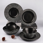 Japan Style [ Pieces Dinner Set ] Black Dinner Set Hot Sale 8 Pieces Matte Black Dinner Plates Bowls Durable Porcelain Tableware Set