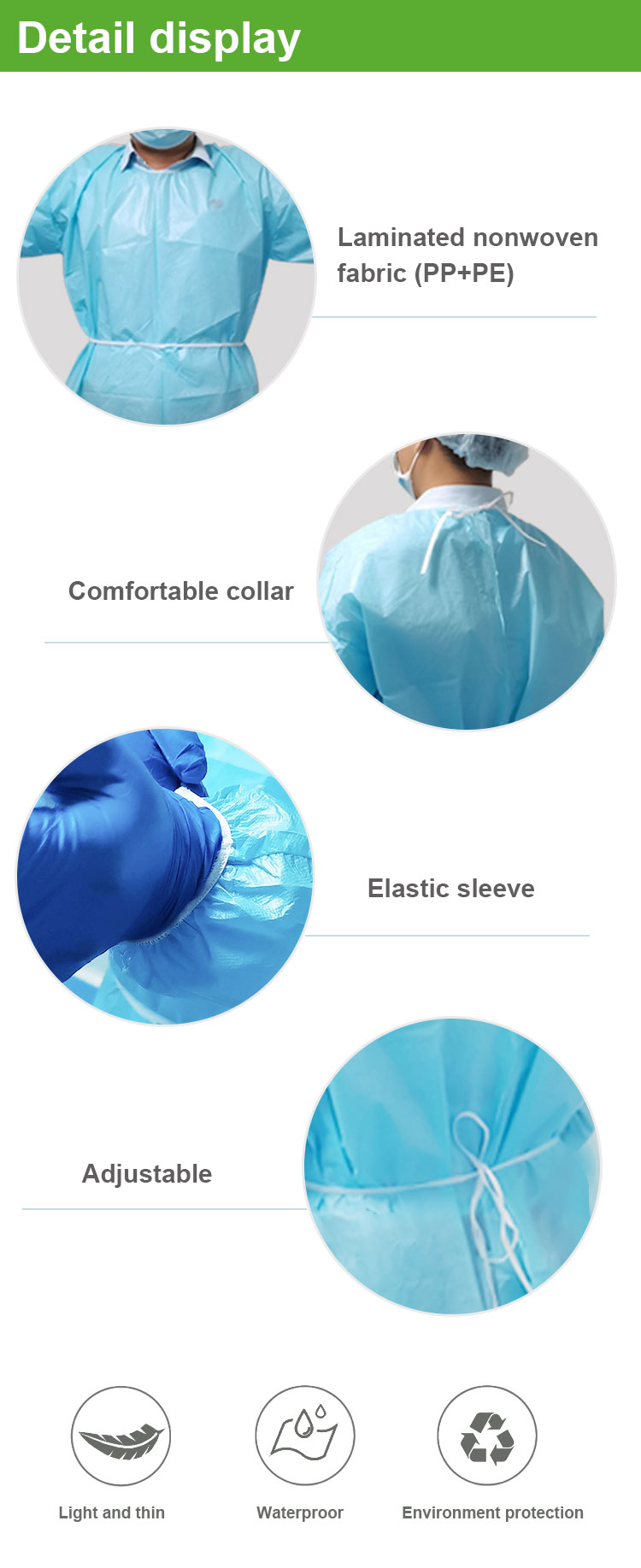 China manufacturer eco friendly sms nonwoven fabric sterile reinforced disposable surgical gown with high quality