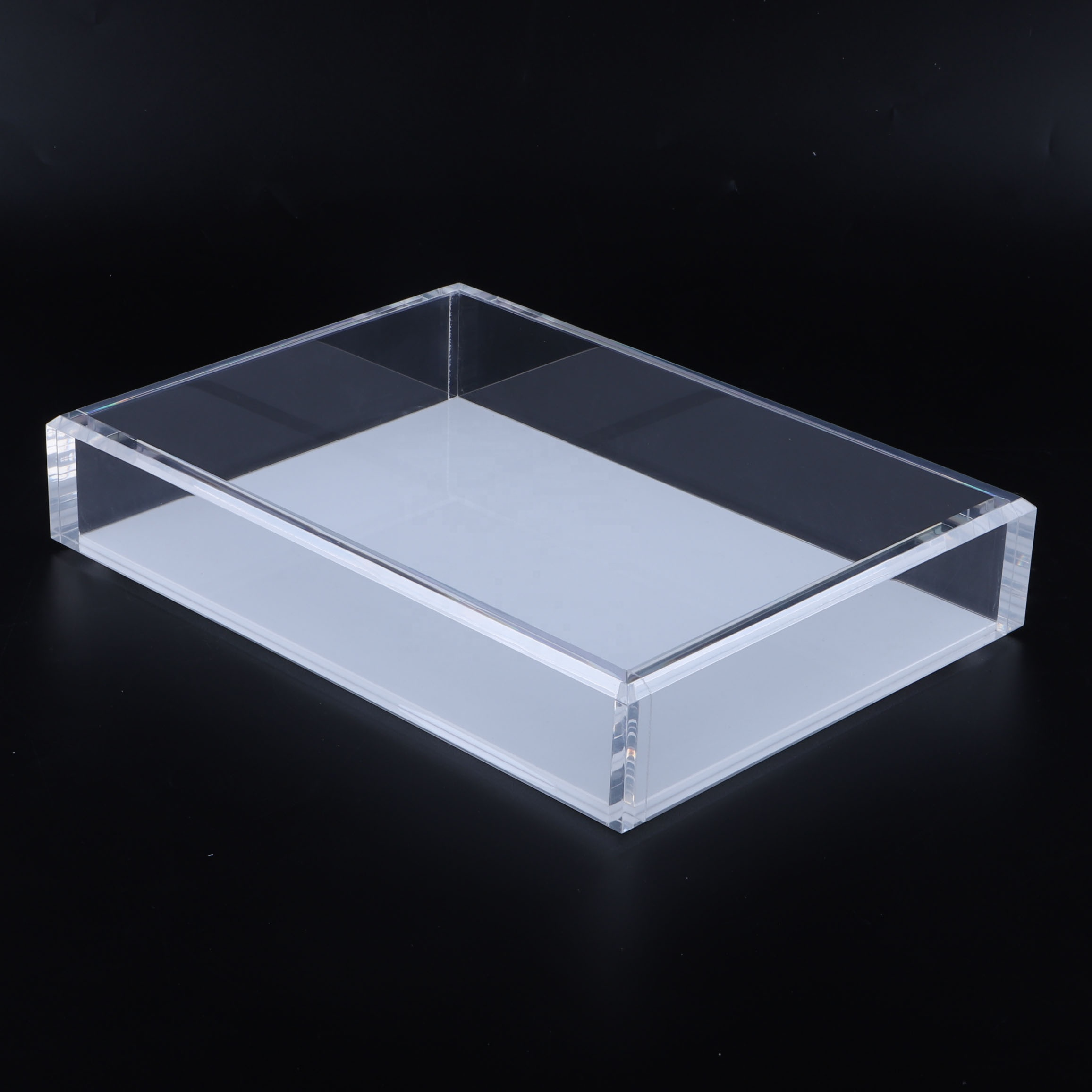 Home decoratieve lucite acryl crystal clear organizer tray