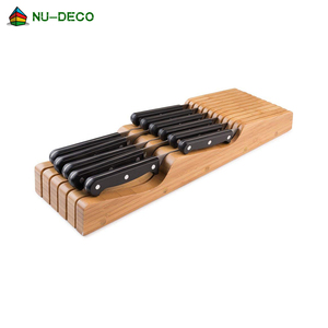 kitchen modern drawer storage utility bamboo box knife block holder for drawer