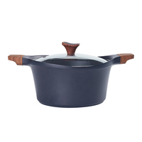 24cm/10inch Soup Pot With Glass Lid Non-stick Coating Aluminium Induction Bottom Cooker Sauce pan Casserole pot