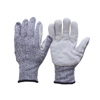 HPPE Cut Resistant Gloves Sewing with Leather on
