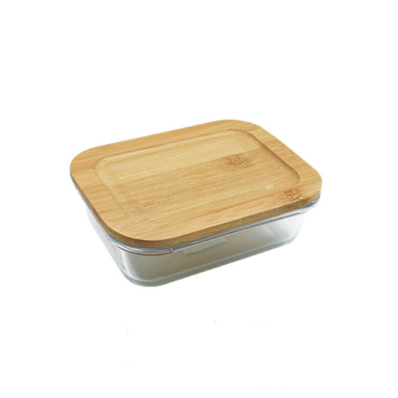 factory price Food Containers Rectangular Glass Container Sets with Bamboo Lids