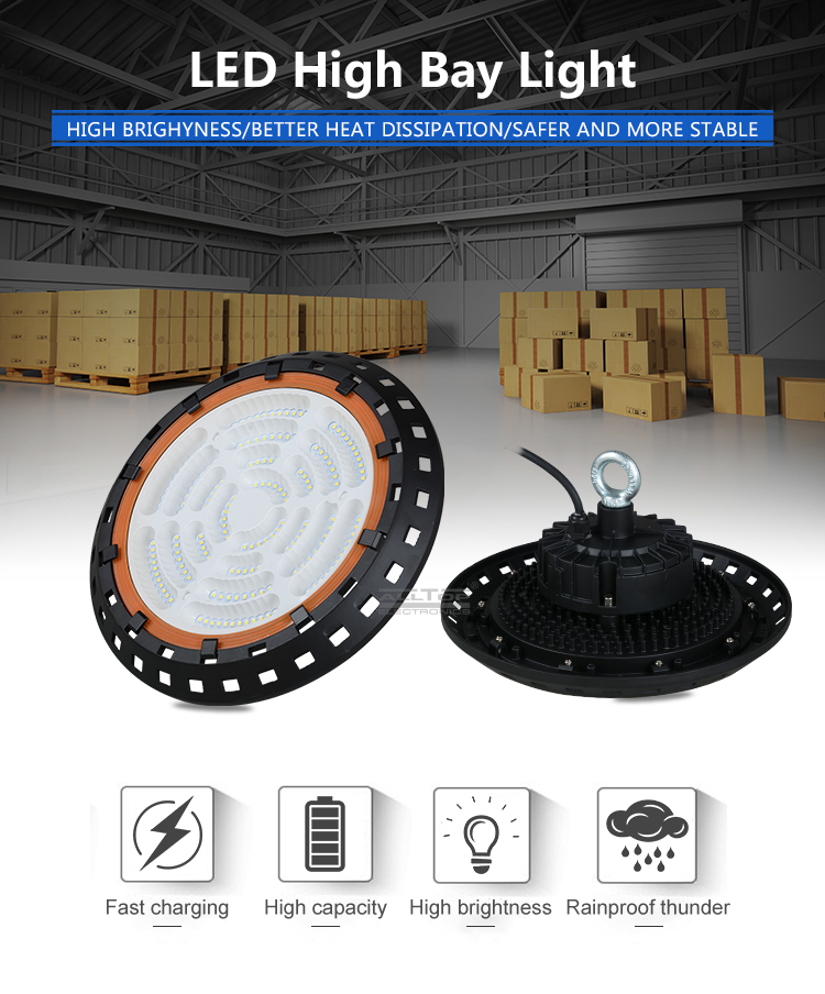 ALLTOP Free Sample IP65 factory warehouse industrial 100w 150w 200w led high bay light
