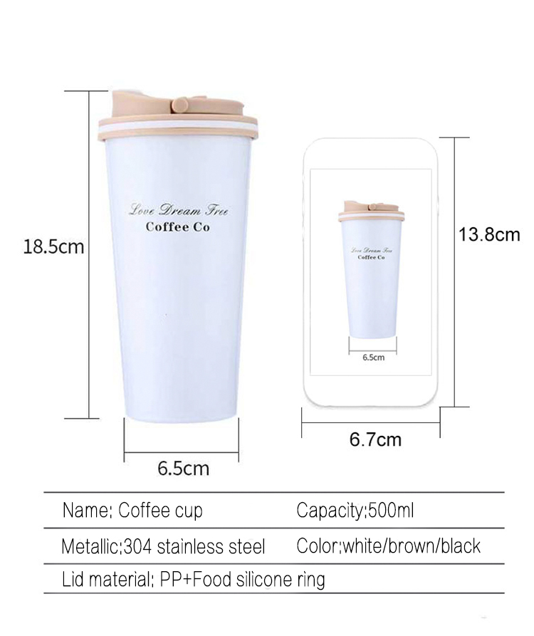 500ml Portable Insulated Thermo Travel Coffee Mug with Stainless Steel