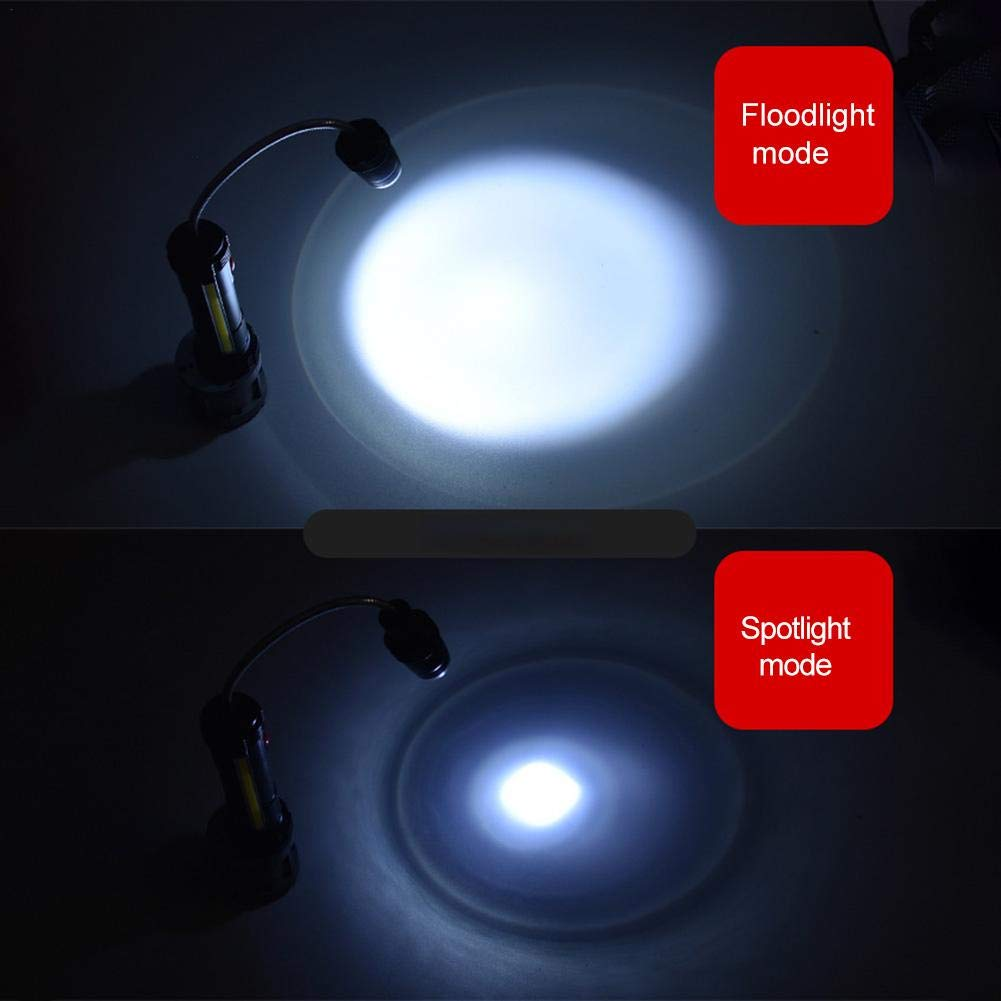USB Rechargeable Magnetic 360 Degree Flexible Gooseneck Aluminium Flashlight Zoom Barbecue Grilling 3W XPE COB LED Work Light